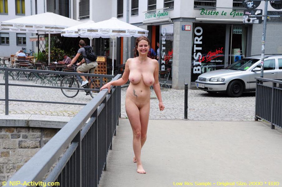 Topless walking